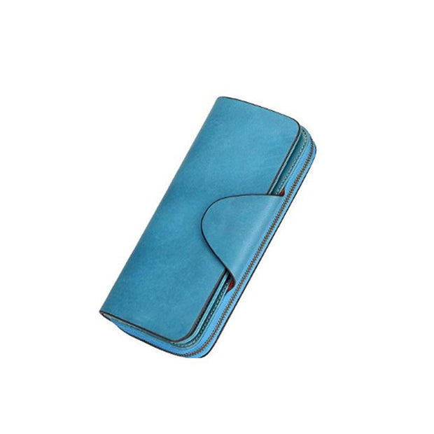 135138 RFID Explosion Women's Wallet Vintage Scrub Handcuffs Oil Wax Leather Long Handle Wallet