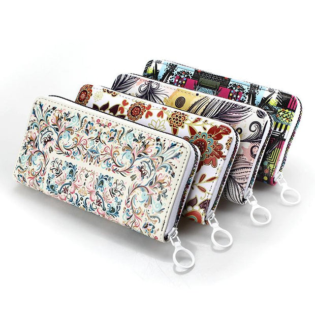 135152 Textured long fresh literary colorful zipper ladies wallet oil painting wallet