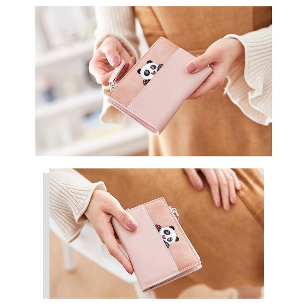 Cute Panda Prined Leather Folding Wallet