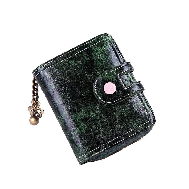 135233 New women's wallet short retro oil wax leather multi-function card package