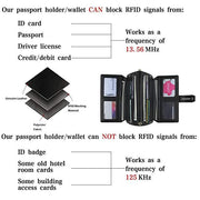 RFID Large Capacity Leather Long Wallet