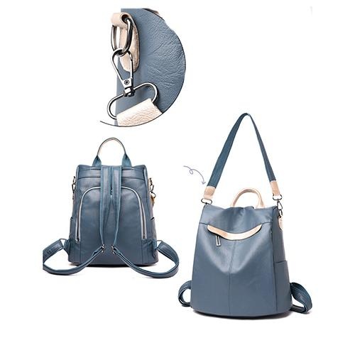 135343 Soft leather personality joker simple trend street fashion backpack