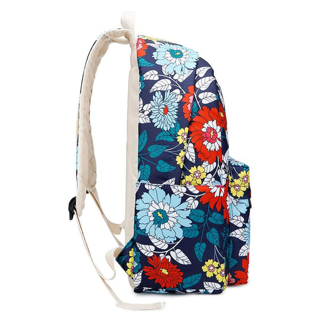 135359 New nylon waterproof backpack student backpack national wind print bag three-piece