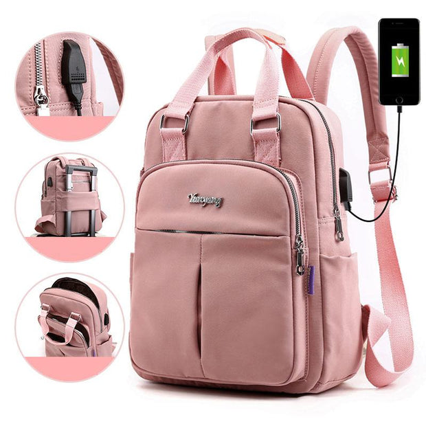 Women Casual USB Charging Travel backpack