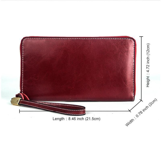 135404 RFID anti-theft brush leather long oil wax leather female handbag multi-card wallet