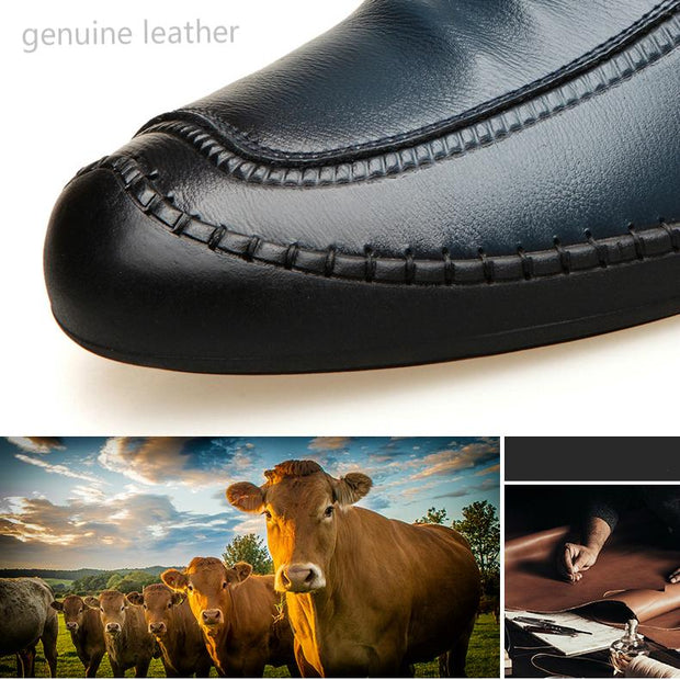 Men Casual Leather Flat Loafers Shoes