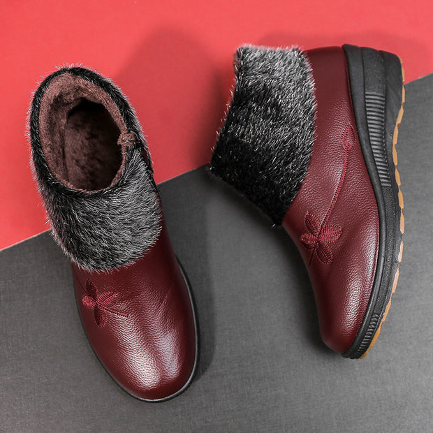 Women's Winter Leather Warm Non-slip Boots