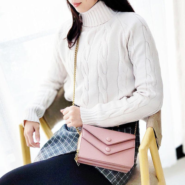 135779 Women Multi-Pocket Casual Phone Purse Solid PU Leather Crossbody Bag Chain Shoulder Bag