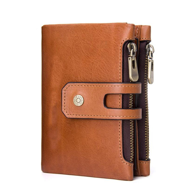 Men's Double Zipper Genuine Leather Wallet