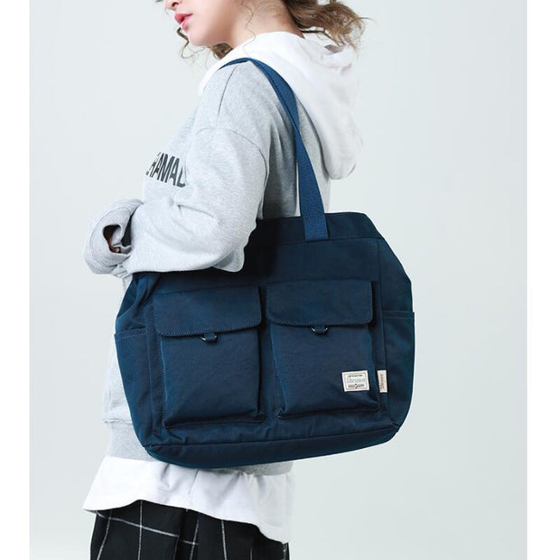 Ins canvas bag female shoulder simple large capacity bag