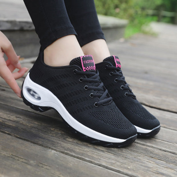 Women's air cushion thick bottom woven breathable sports shoes
