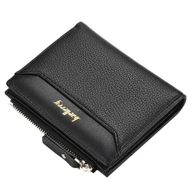 Men's business leather short wallet