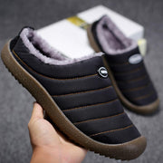 Mens House Slippers Slip On Winter Snow Slippers Indoor Outdoor Fully Fur Lined Anti-Slip Slippers