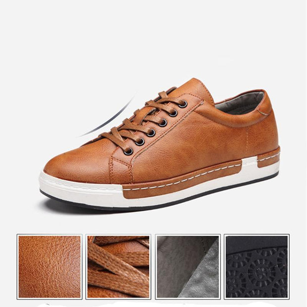 Men's Casual Leather Travel Lace-up Shoes