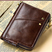 Men's Multi-function RFID Double Zipper Wallet