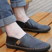 Men's Breathable Leather Soft Lightweight Flat Shoes