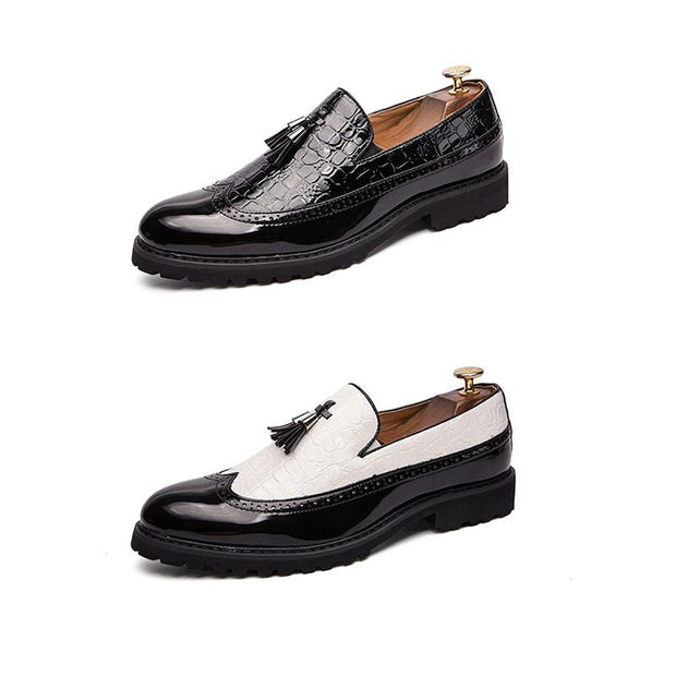 Men's Casual Colorblock Leather Flat Shoes