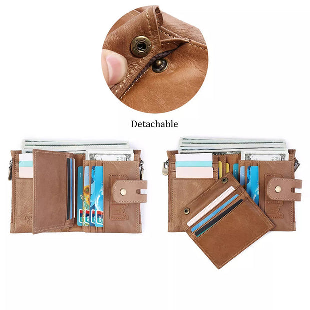 Women Retro Genuine Leather Tri-fold Wallet Card Holder