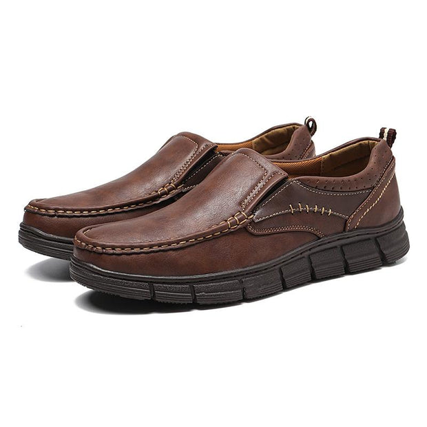 Men Business Light Walking Leather Flat Shoes