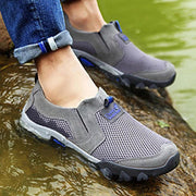 Men Breathable Mesh Leather Wear-Resistant Outdoor Sneakers
