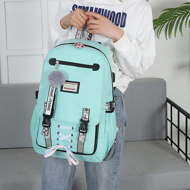 Women Fashion USB Charging Anti-theft Student Backpack