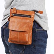 Men's Outdoor Leather Multi-function Waist Bag
