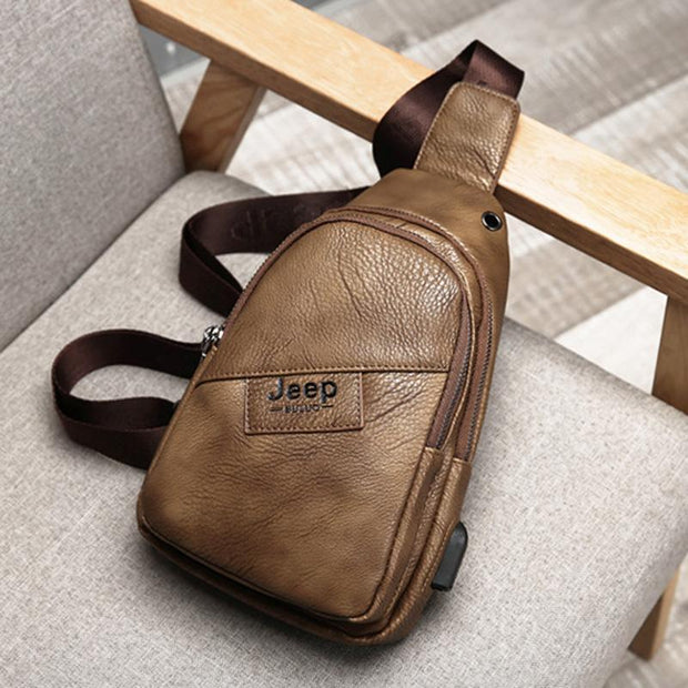 Men's Retro Leather USB Charging Chest Bag