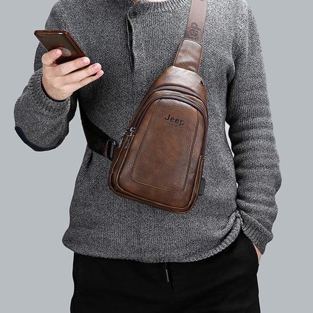 Men's Retro Leather USB Charging Multi-function Chest Bag