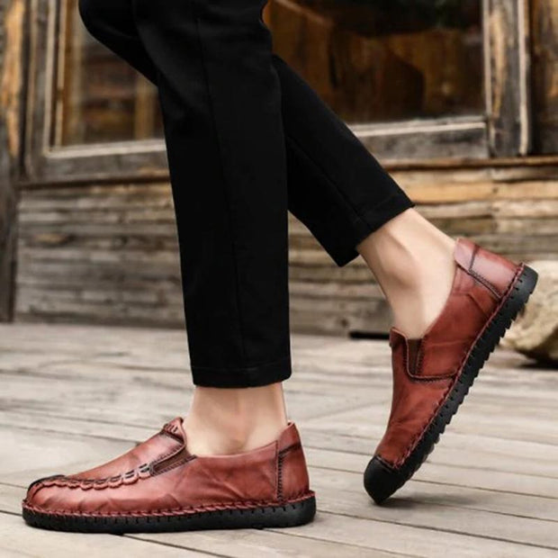 Men's Casual Leather Walking Flats Shoes
