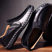 Men's British Trend Genuine Leather Stylish Handmade Stitching Formal Casual Slip-On Flats