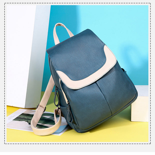 Women's PU large capacity fashion simple travel backpack