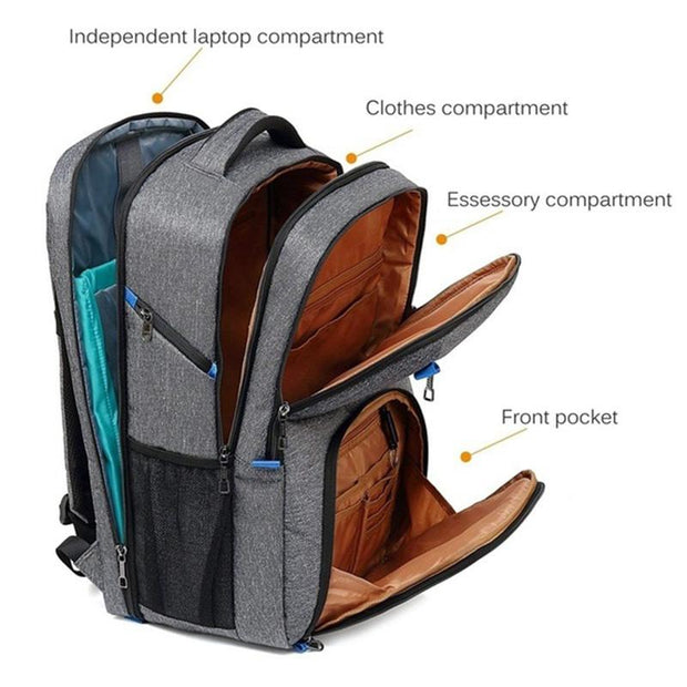 Men's USB Charging Laptop Briefcase Business Travel Backpack