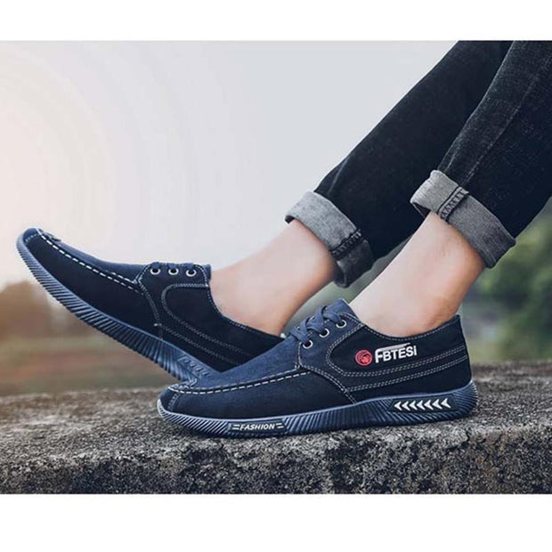 Men's Denim Lace Canvas Breathable Non-Slip Wear Shoes