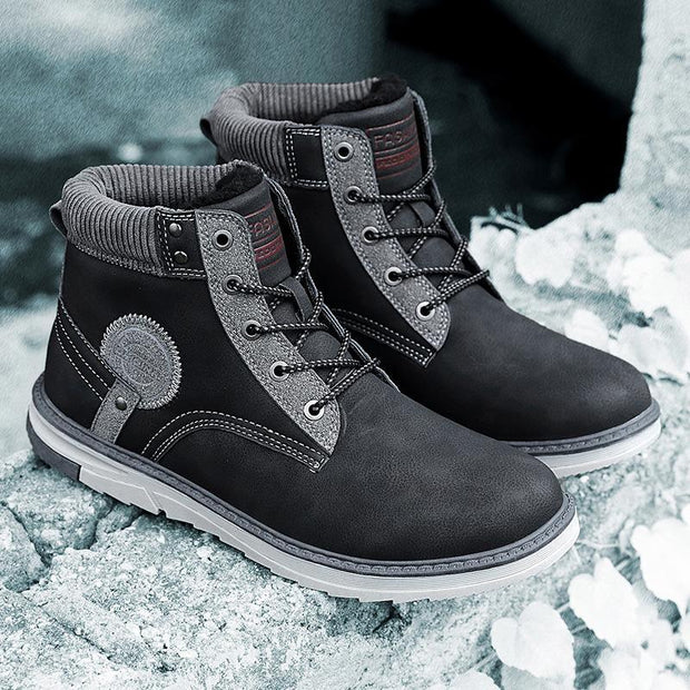 Men's Outdoor Anti-Skiing Boots Warm And Velvet Cotton Shoes