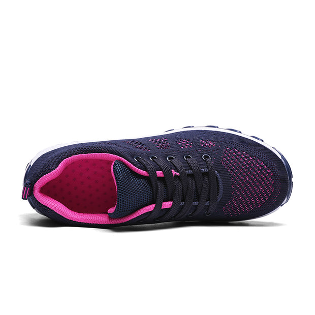 Womens Walking Shoes Breathable Lace-up Rocking Platform Sneakers