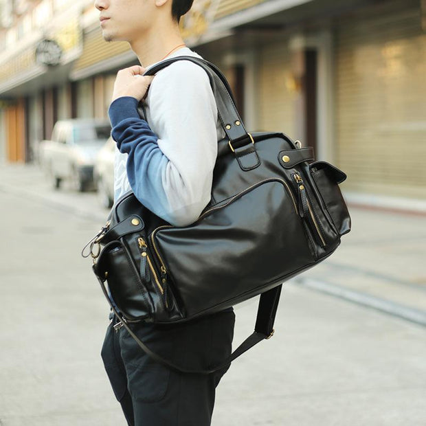 Men's PU large capacity travel shoulder bag