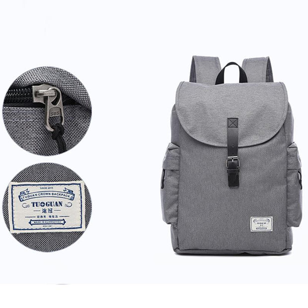 Men's canvas buckle beam fashion simple computer backpack