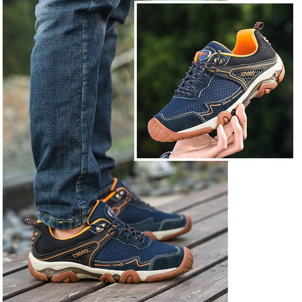 Men's Mesh Breathable Lightweight All Seasons Fashion Leather Sneakers