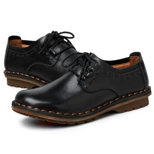 Men's Leather Hand Stitching Working Casual Shoes Comfortable Breathable