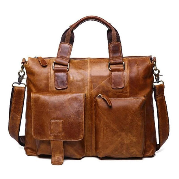 Men's Leather Large Capacity Business Travel Laptop Briefcase