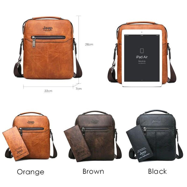 Men 2PC/Set Leather Business Shoulder Bag