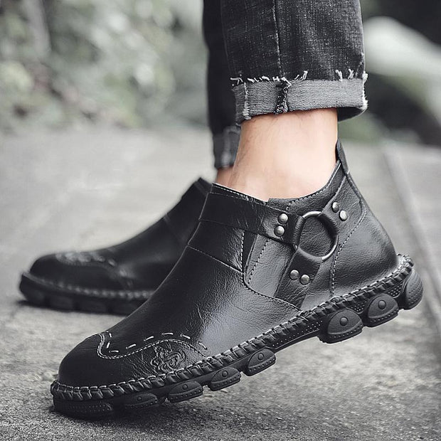 Men Cow Leather Hand Stitching Comfy Soft Lave Up Casaul Ankle Boots(Buy 2 get -10% by code:BUY2)