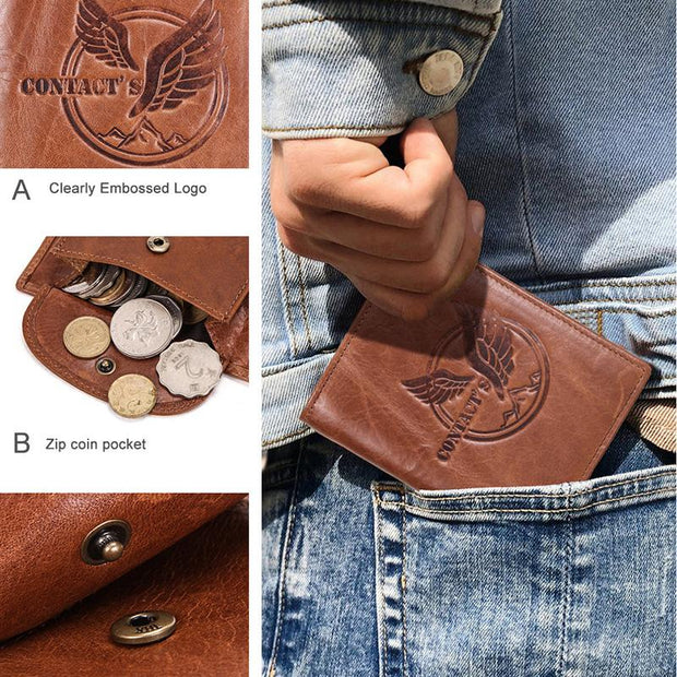 Men's Vertical Three-fold Leather Wallet Multi-function Wallet