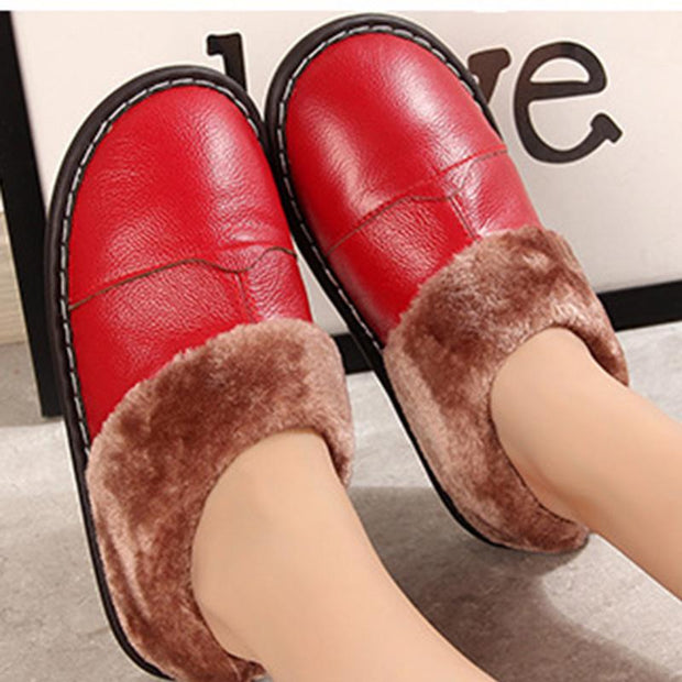 Women's leather non-slip couple home shoes indoor bag with slippers cotton slippers