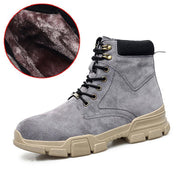 Men's England Winter Leather Plus Velvet Warm Snow Tooling Cotton Shoes