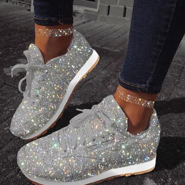 Women's Muffin Rhinestone New Crystal Platform Sneakers