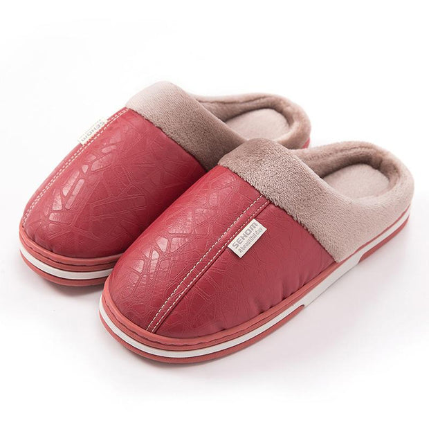 Women's Winter Home Indoor Non-Slip Warm Leather Waterproof Cotton Slippers