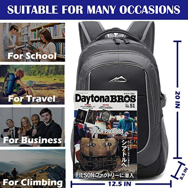 Men and Women School College Student Sturdy Bookbag Travel Business with USB Charging Port Laptop Compartment Backpack
