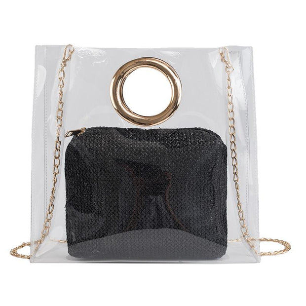 Fashion Large Capacity portable chain Clear Bag