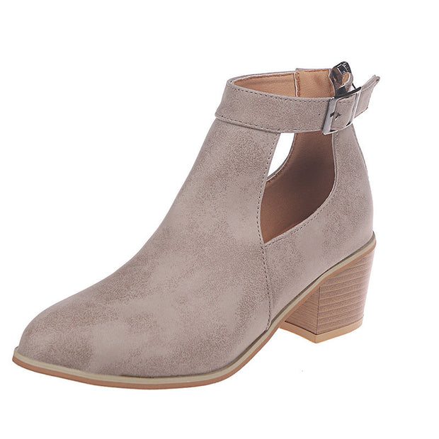 Women Hollow Zipper Chunky Heel Single Boots